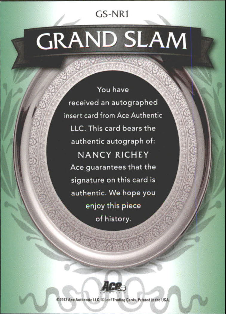 2013 Ace Authentic Grand Slam Champs Autographs #GSNR1 Nancy Richey