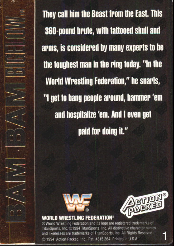 1994 Action Packed WWF #1 Bam Bam Bigelow