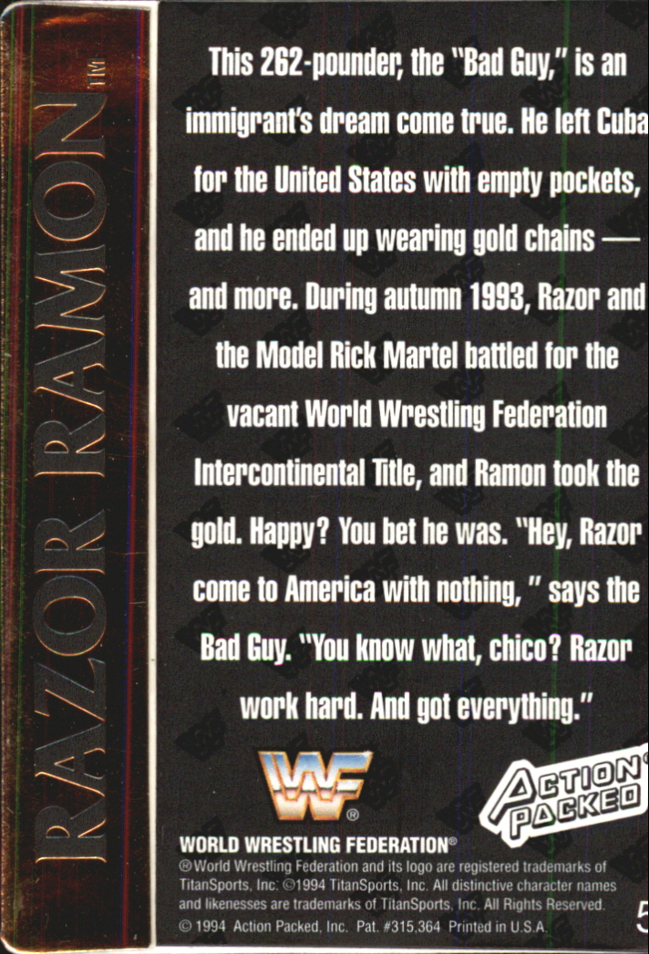 1994 Action Packed WWF #5 Razor Ramon