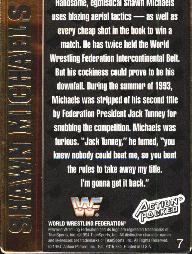 1994 Action Packed WWF #7 Shawn Michaels