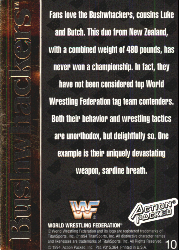1994 Action Packed WWF #10 Bushwhackers