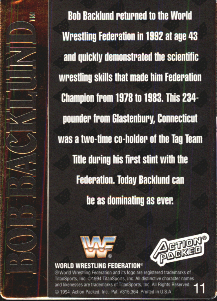 1994 Action Packed WWF #11 Bob Backlund