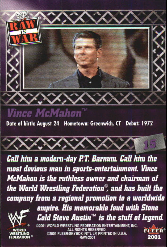 2001 Fleer WWF Raw Is War #15 Vince McMahon