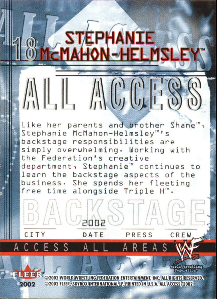 2002 Fleer WWF All Access #18 Stephanie McMahon Helmsley