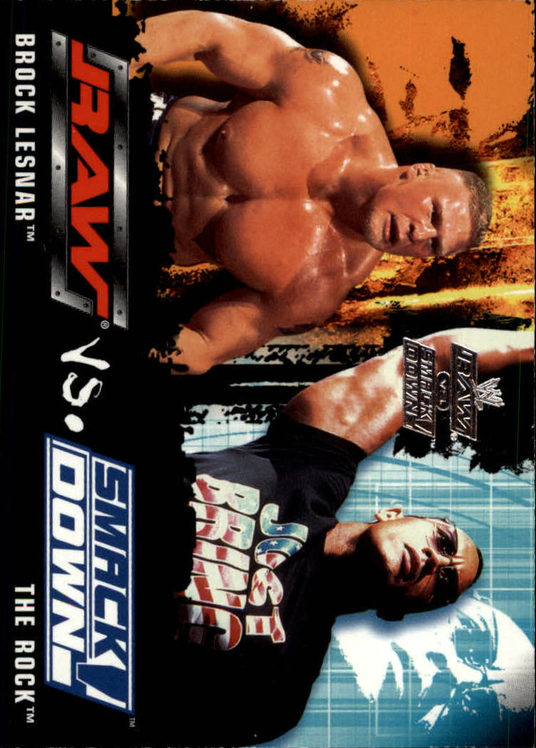 2002 Fleer WWE Raw vs. Smackdown #86 Brock Lesnar/The Rock