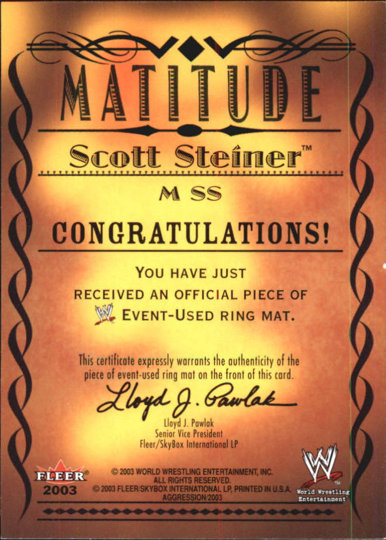 2003 Fleer WWE Aggression Matitude Event Used #MSS Scott Steiner