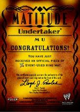 2003 Fleer WWE Aggression Matitude Event Used #MU Undertaker