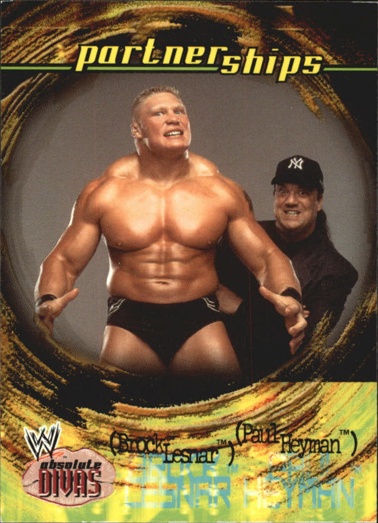 2002 Fleer WWE Absolute Divas #49 Lesnar/Heyman PS