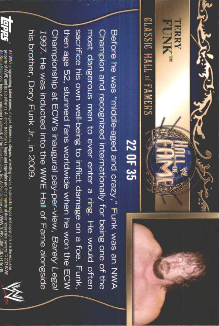 2012 Topps WWE Classic Hall of Famers #22 Terry Funk
