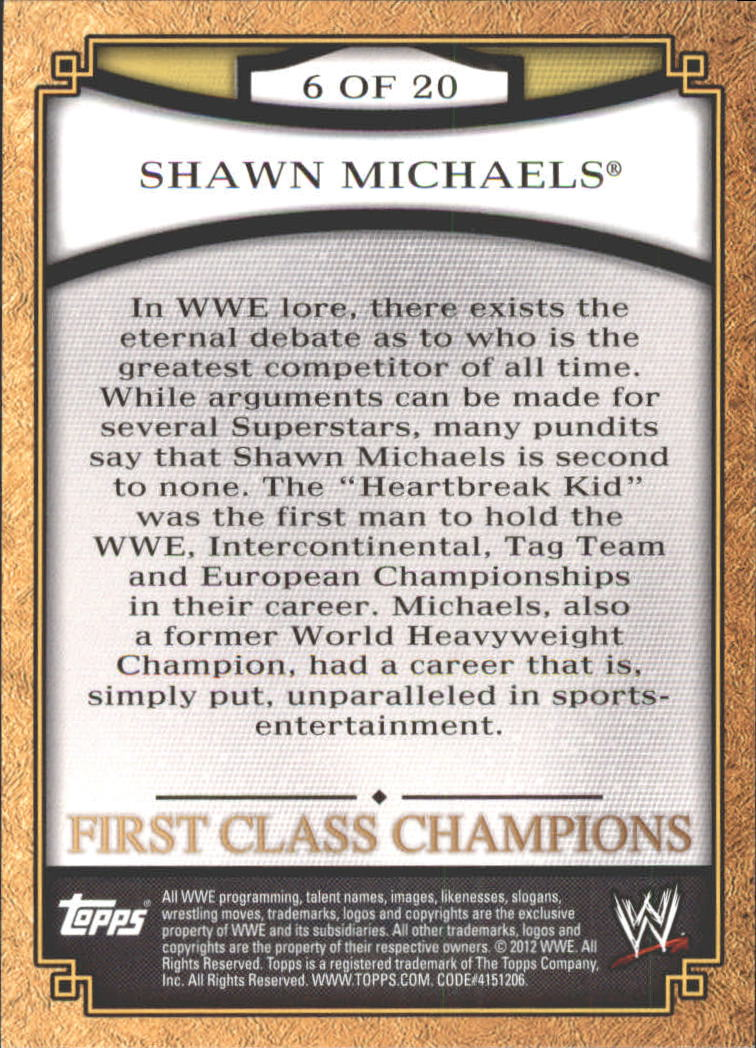 2012 Topps WWE First Class Champions #6 Shawn Michaels