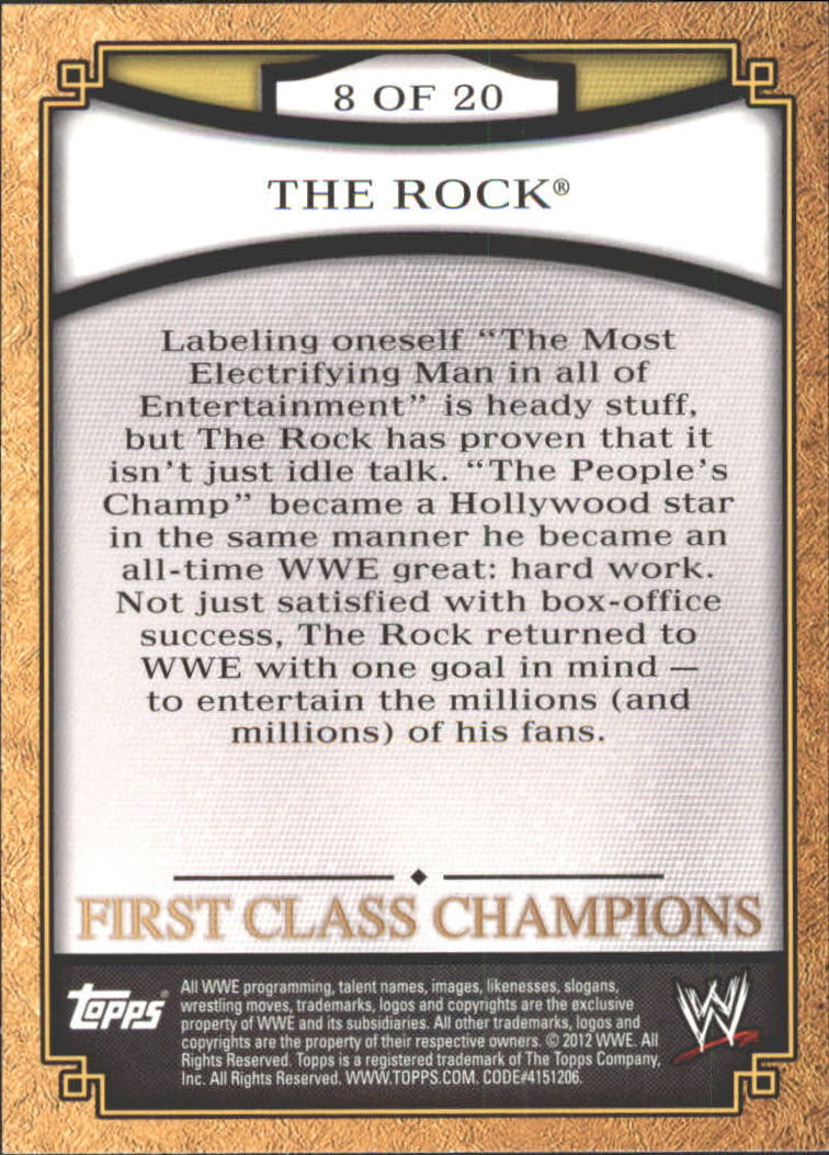 2012 Topps WWE First Class Champions #8 The Rock