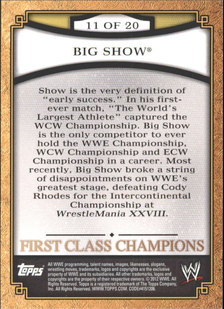 2012 Topps WWE First Class Champions #11 Big Show