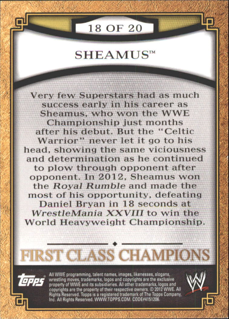 2012 Topps WWE First Class Champions #18 Sheamus