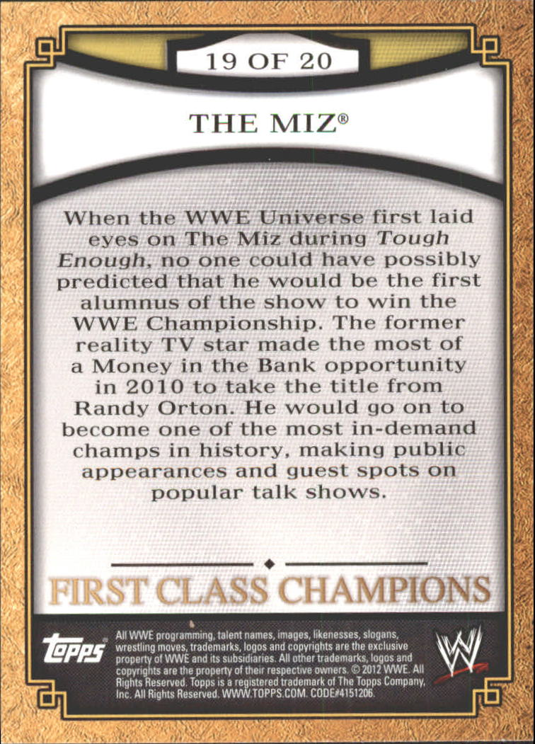 2012 Topps WWE First Class Champions #19 The Miz