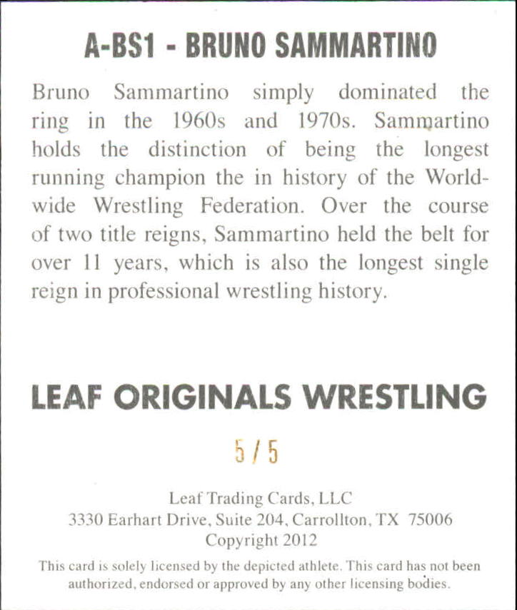 2012 Leaf Originals Wrestling #BS1 Bruno Sammartino