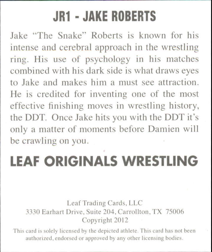 2012 Leaf Originals Wrestling #JR1 Jake Roberts