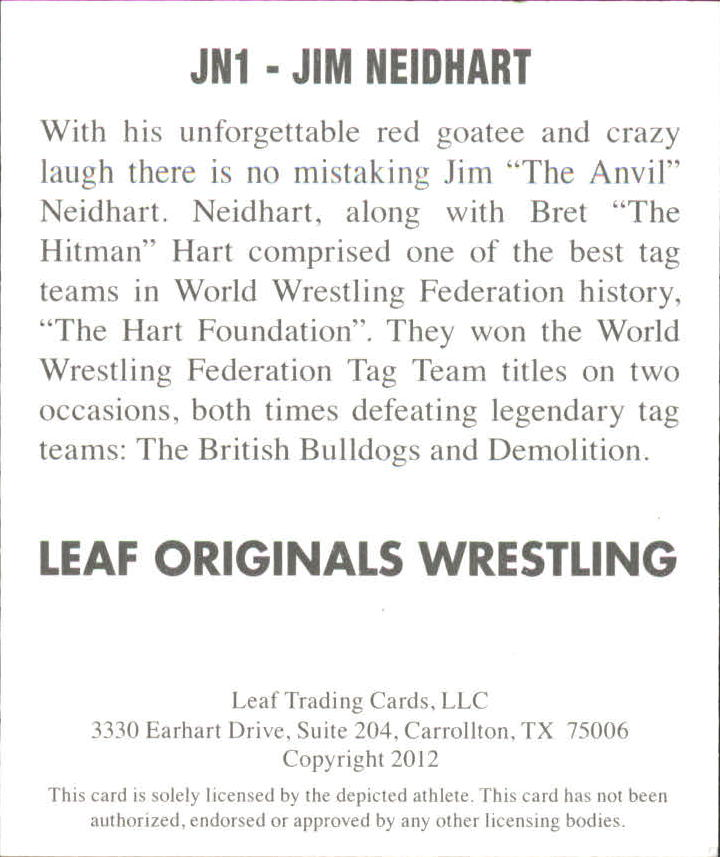 2012 Leaf Originals Wrestling #JN1 Jim Neidhart