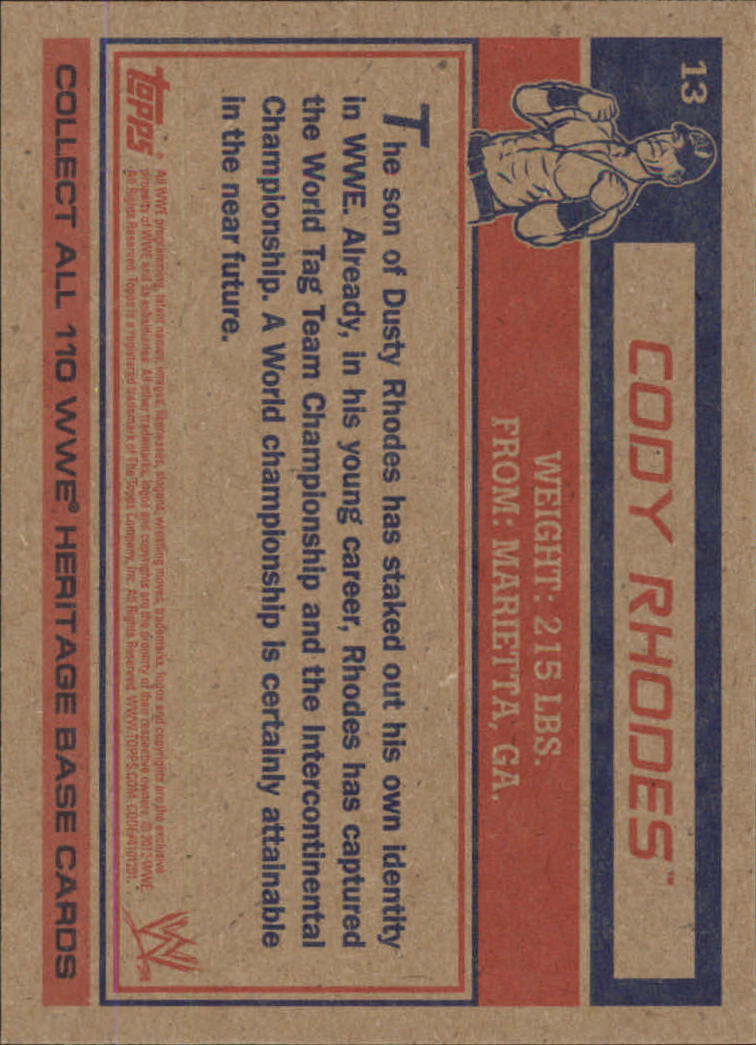 2012 Topps Heritage WWE #13 Cody Rhodes