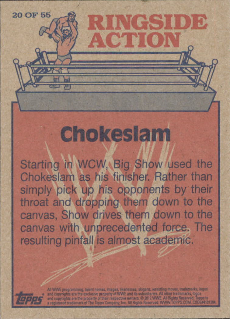 2012 Topps Heritage WWE Ringside Action #20 Big Show/ Chokeslam