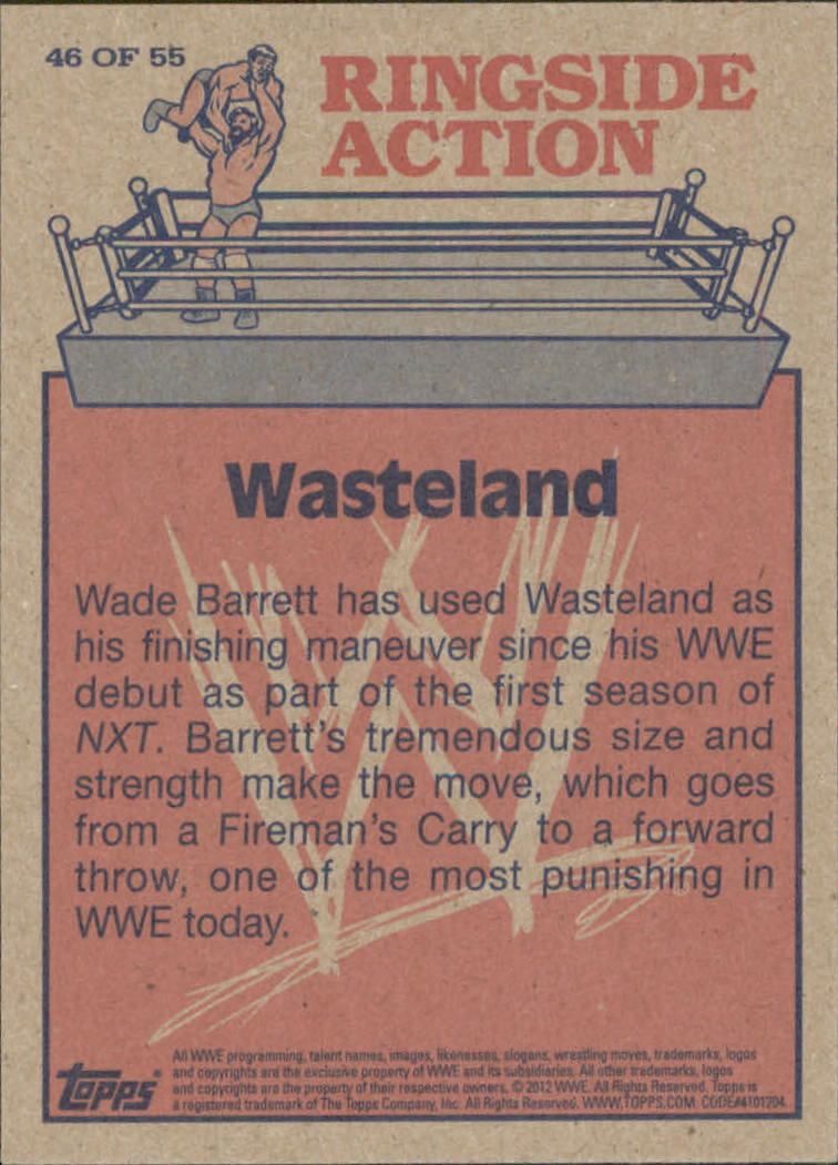 2012 Topps Heritage WWE Ringside Action #46 Wade Barrett/ Wasteland