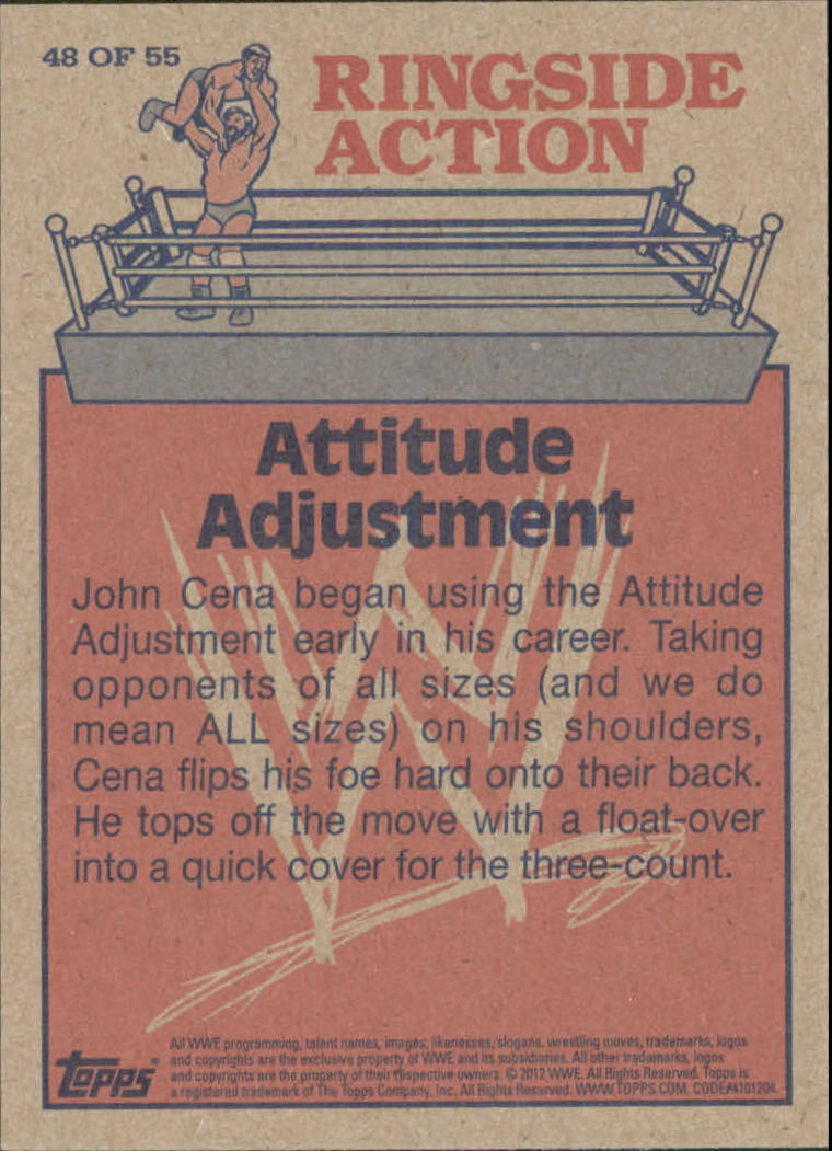 2012 Topps Heritage WWE Ringside Action #48 John Cena/ Attitude Adjustment