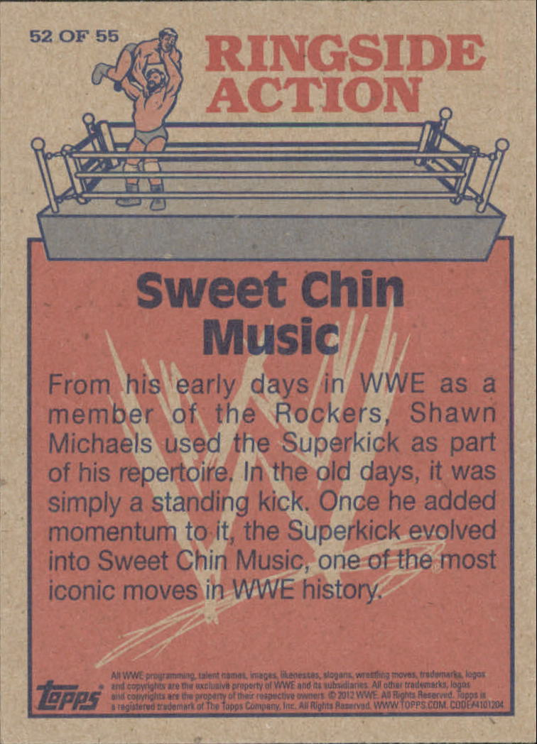 2012 Topps Heritage WWE Ringside Action #52 Shawn Michaels/ Sweet Chin Music