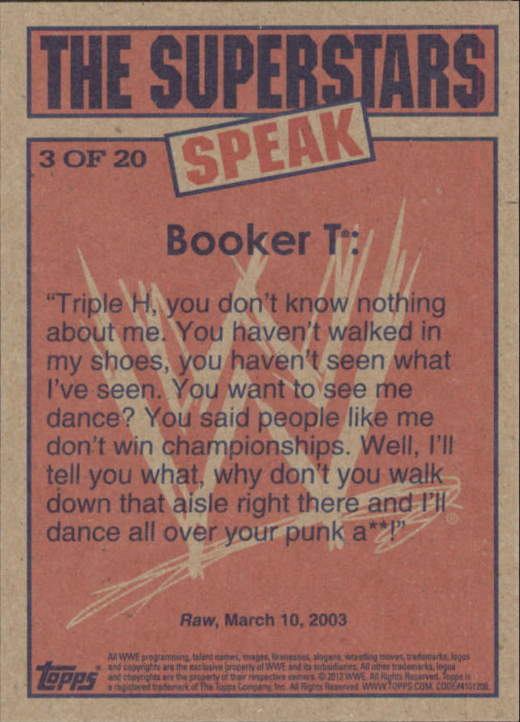 2012 Topps Heritage WWE The Superstars Speak #3 Booker T