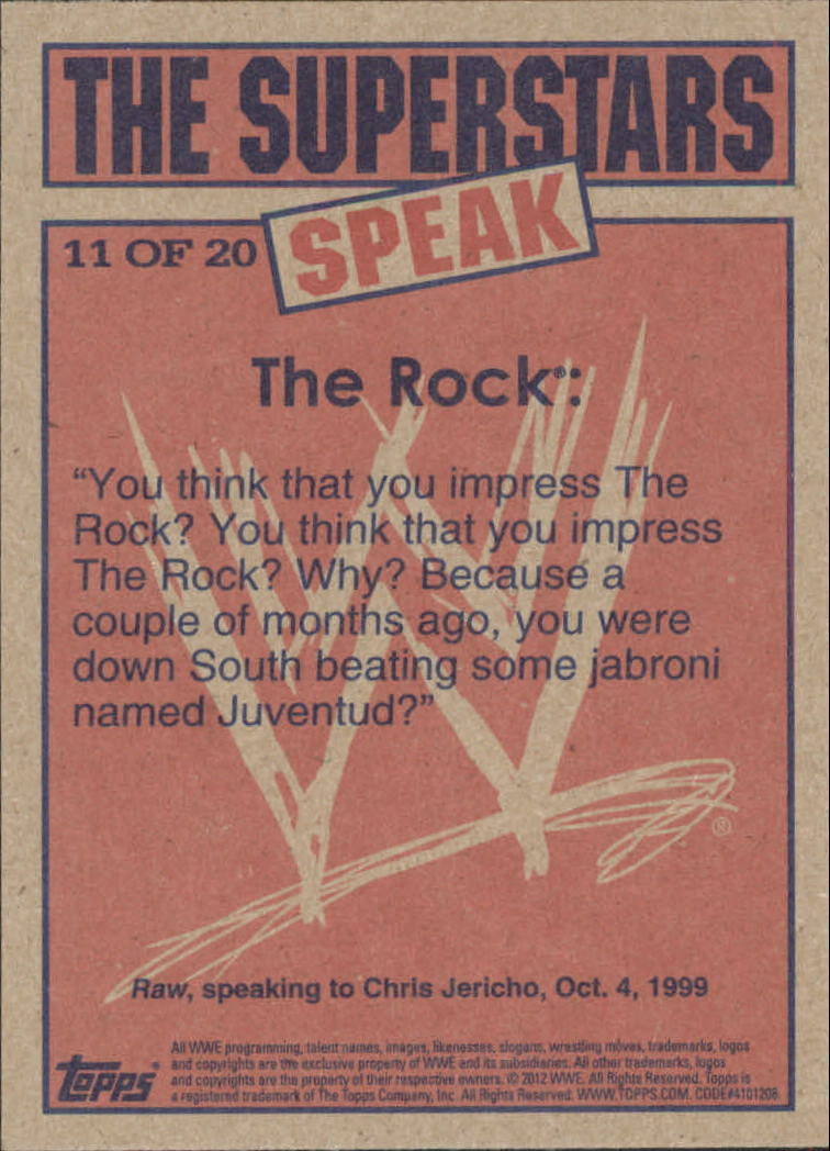 2012 Topps Heritage WWE The Superstars Speak #11 The Rock