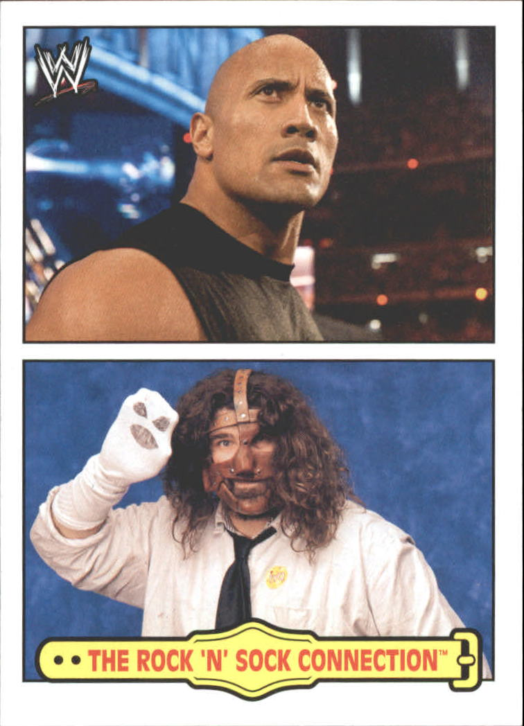 2012 Topps Heritage WWE Fabled Tag Teams #7 The Rock 'n' Sock Connection
