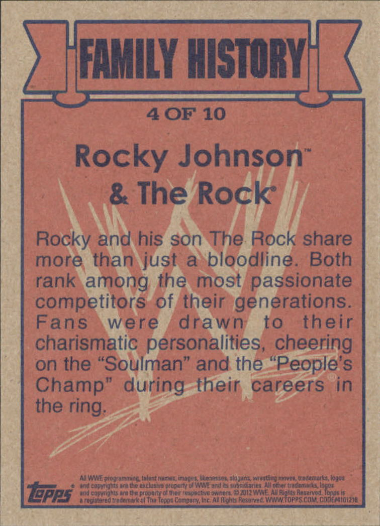 2012 Topps Heritage WWE Family History #4 Rocky Johnson/ The Rock
