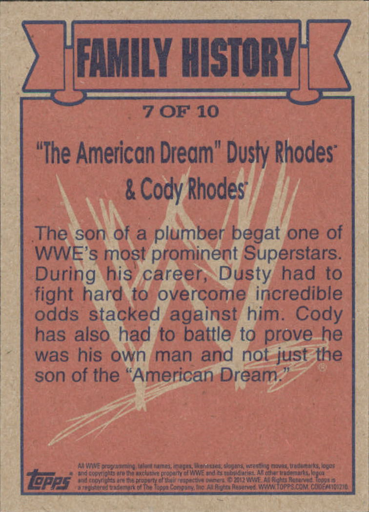 2012 Topps Heritage WWE Family History #7 Dusty Rhodes/ Cody Rhodes