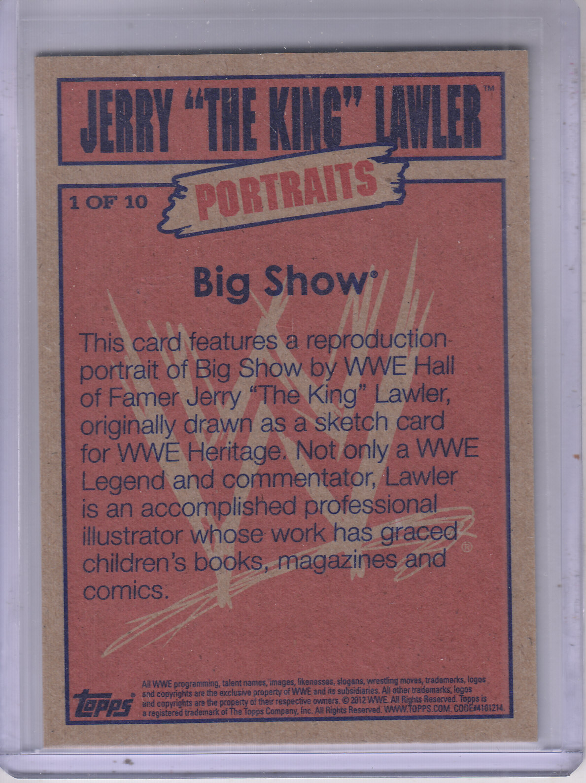 2012 Topps Heritage WWE Jerry the King Lawler Portraits #1 Big Show