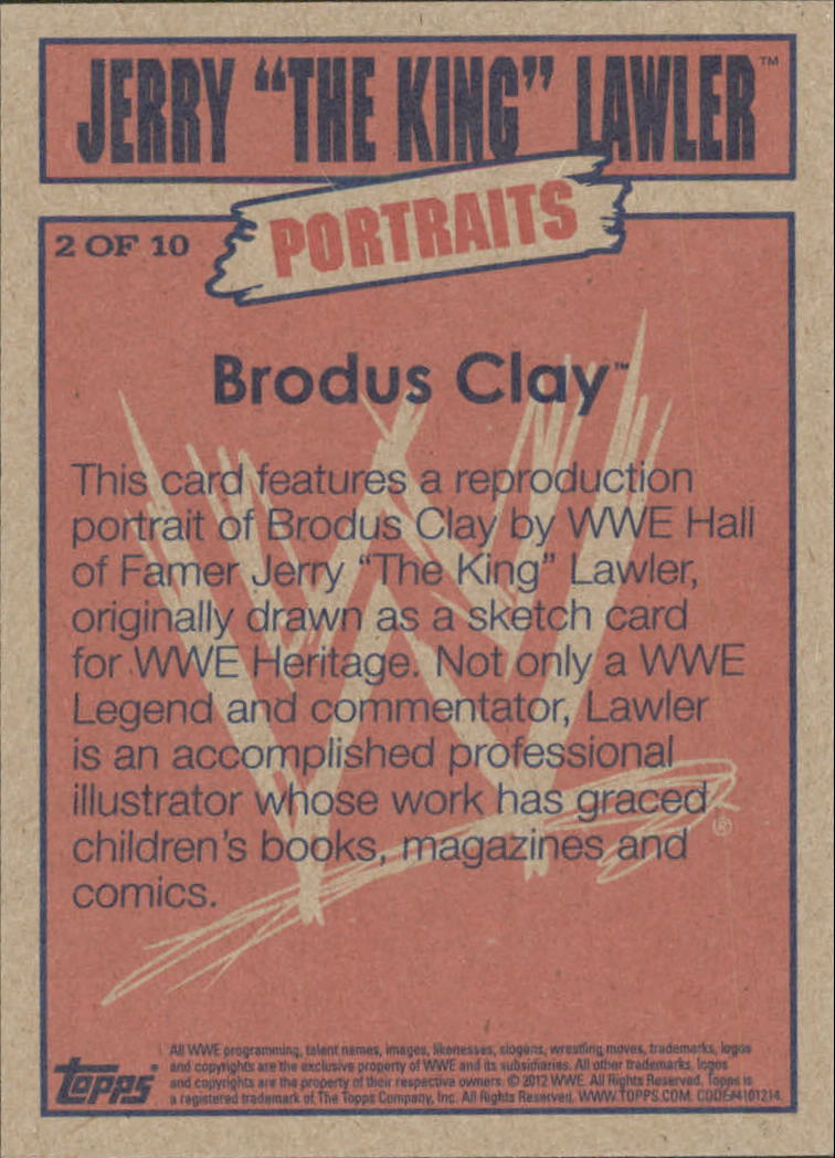2012 Topps Heritage WWE Jerry the King Lawler Portraits #2 Brodus Clay