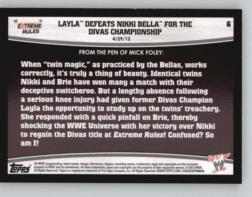 2013 Topps Best of WWE #6 Layla Defeats Nikki Bella for the Divas Championship