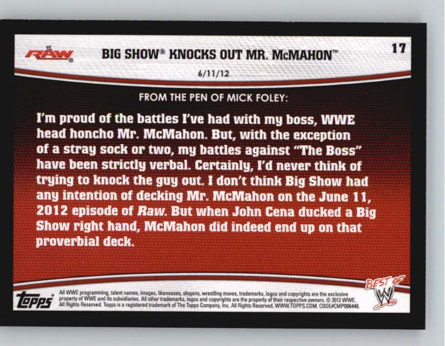 2013 Topps Best of WWE #17 Big Show Knocks Out Mr. McMahon