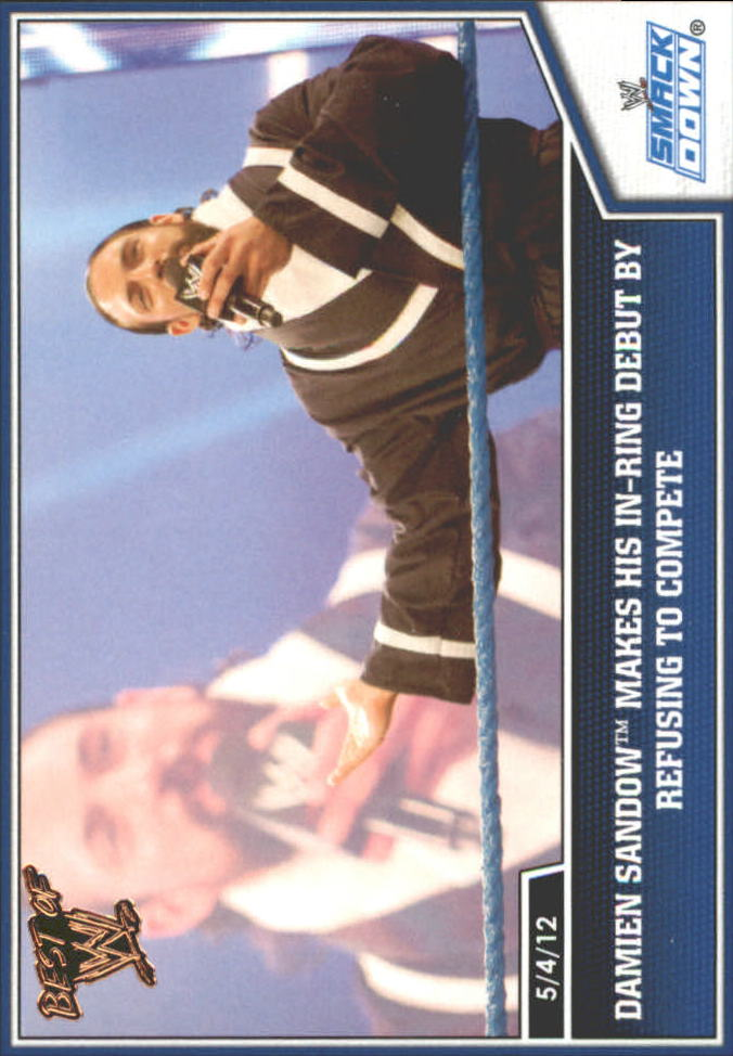2013 Topps Best of WWE Bronze #12 Damien Sandow Makes his In-Ring Debut by Refusing to Compete
