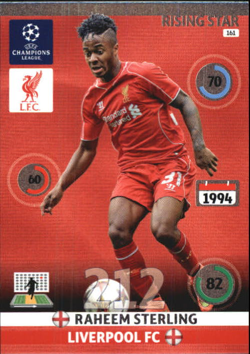 2014-15 Adrenalyn XL UEFA Champions League #161 Raheem Sterling/Rising Star