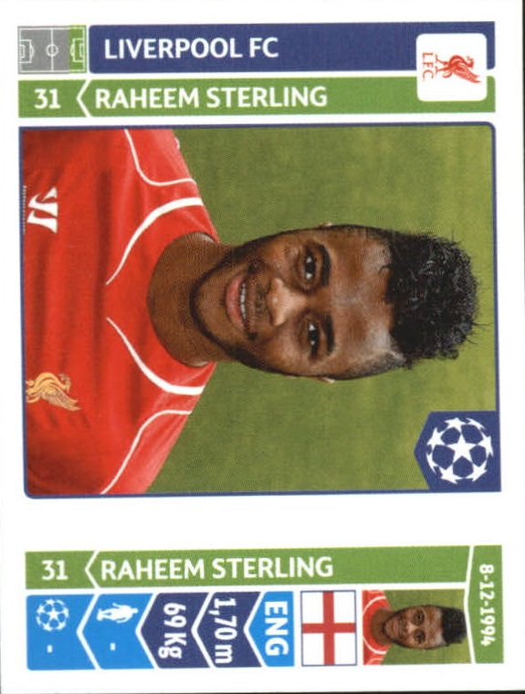 2014-15 Panini UEFA Champions League Stickers #154 Raheem Sterling