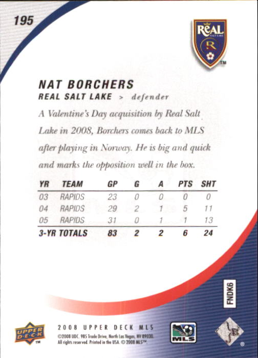 2008 Upper Deck MLS #195 Nat Borchers RC