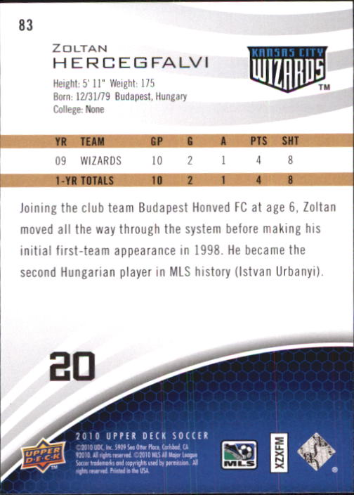 2010 Upper Deck MLS #83 Zoltan Hercegfalvi