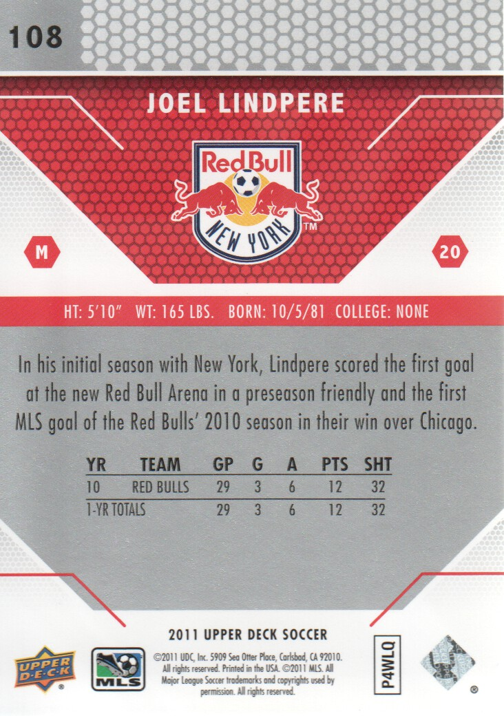 2011 Upper Deck MLS #108 Joel Lindpere