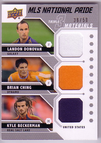 2011 Upper Deck MLS National Pride Triple Materials #DCB Landon Donovan/Brian Ching/Kyle Beckerman