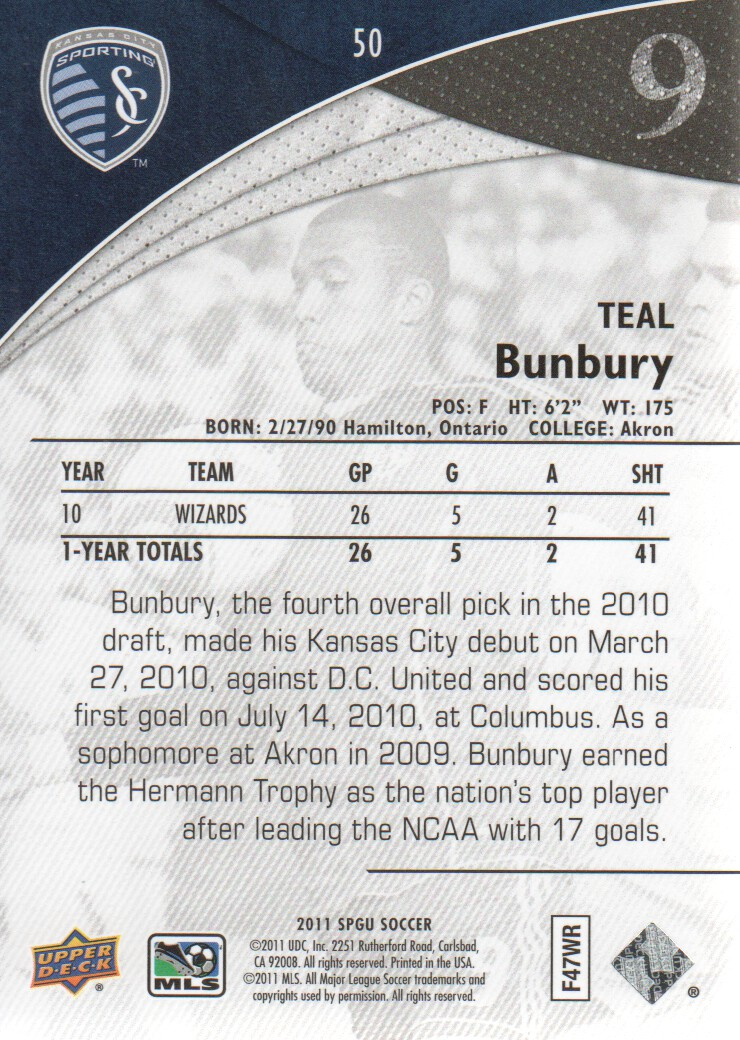2011 SP Game Used #50 Teal Bunbury