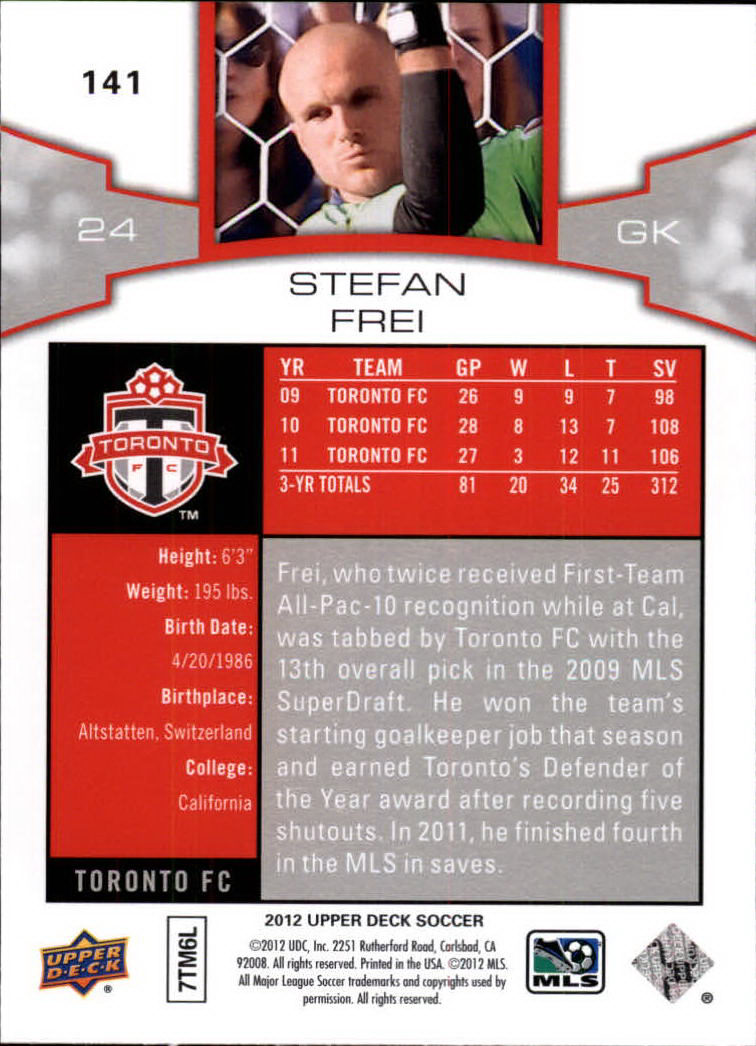 2012 Upper Deck MLS #141 Stefan Frei
