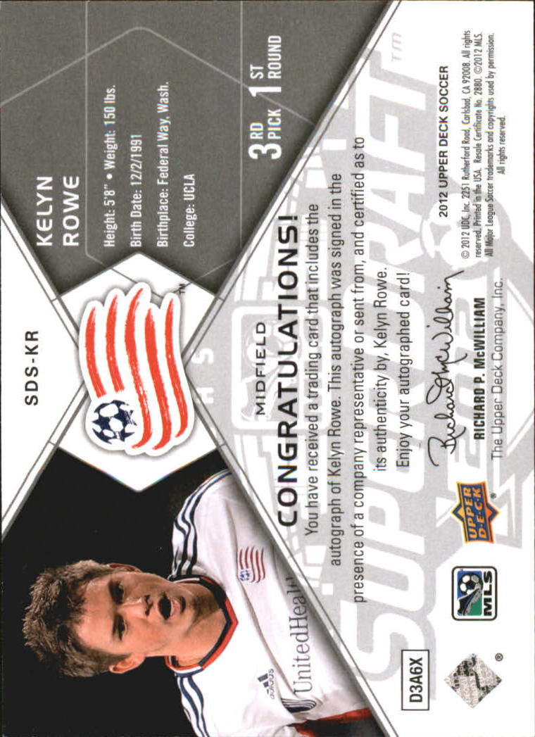 2012 Upper Deck MLS Super Draft Signatures #KR Kelyn Rowe