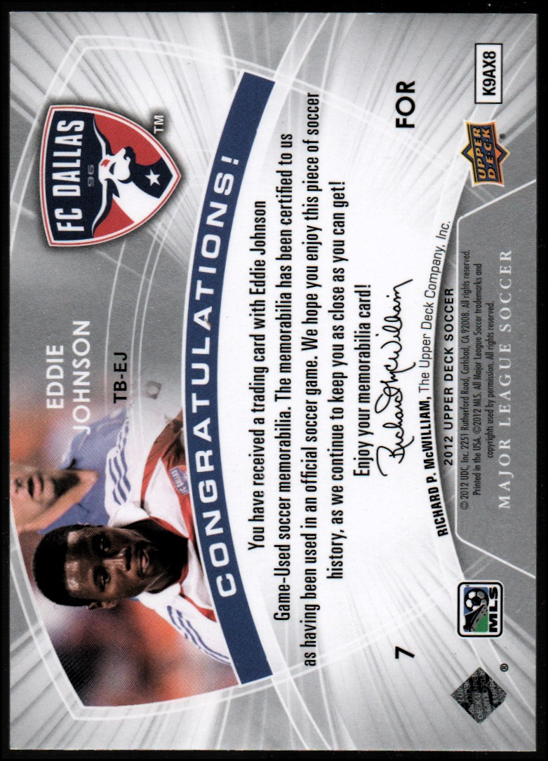 2012 Upper Deck MLS Throwback Materials #EJ Eddie Johnson B