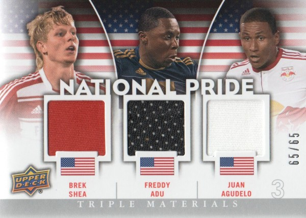 2012 Upper Deck MLS National Pride Triple Materials #USA5 Juan Agudelo/Freddy Adu/Brek Shea
