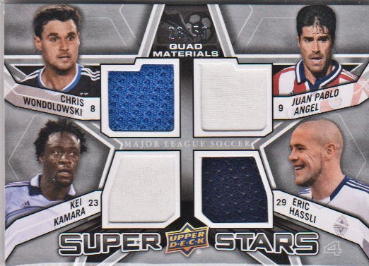 2012 Upper Deck MLS Superstars Quad Materials #FWD2 Eric Hassli/Chris Wondolowski/Juan Pablo Angel/Kei Kamara