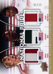2012 Upper Deck MLS National Pride Triple Materials Premium Series #USA5 Juan Agudelo/Freddy Adu/Brek Shea