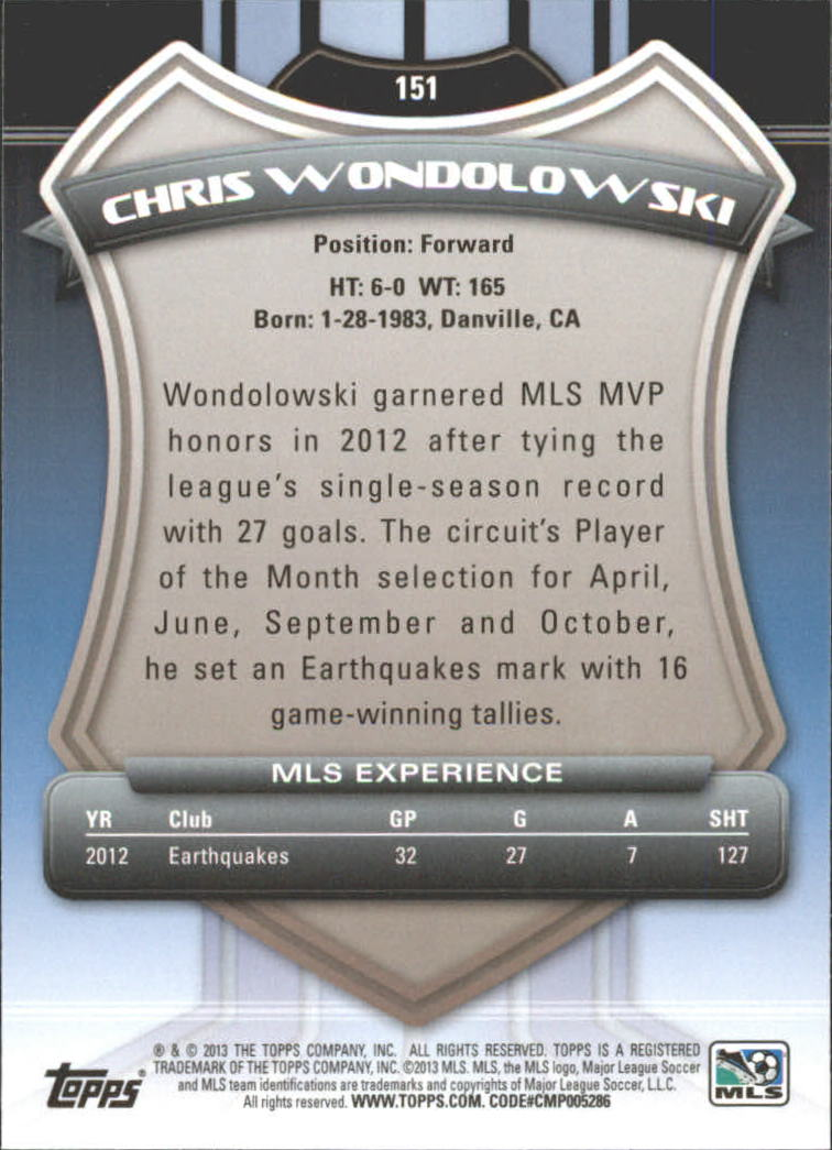 2013 Topps MLS #151A Chris Wondolowski